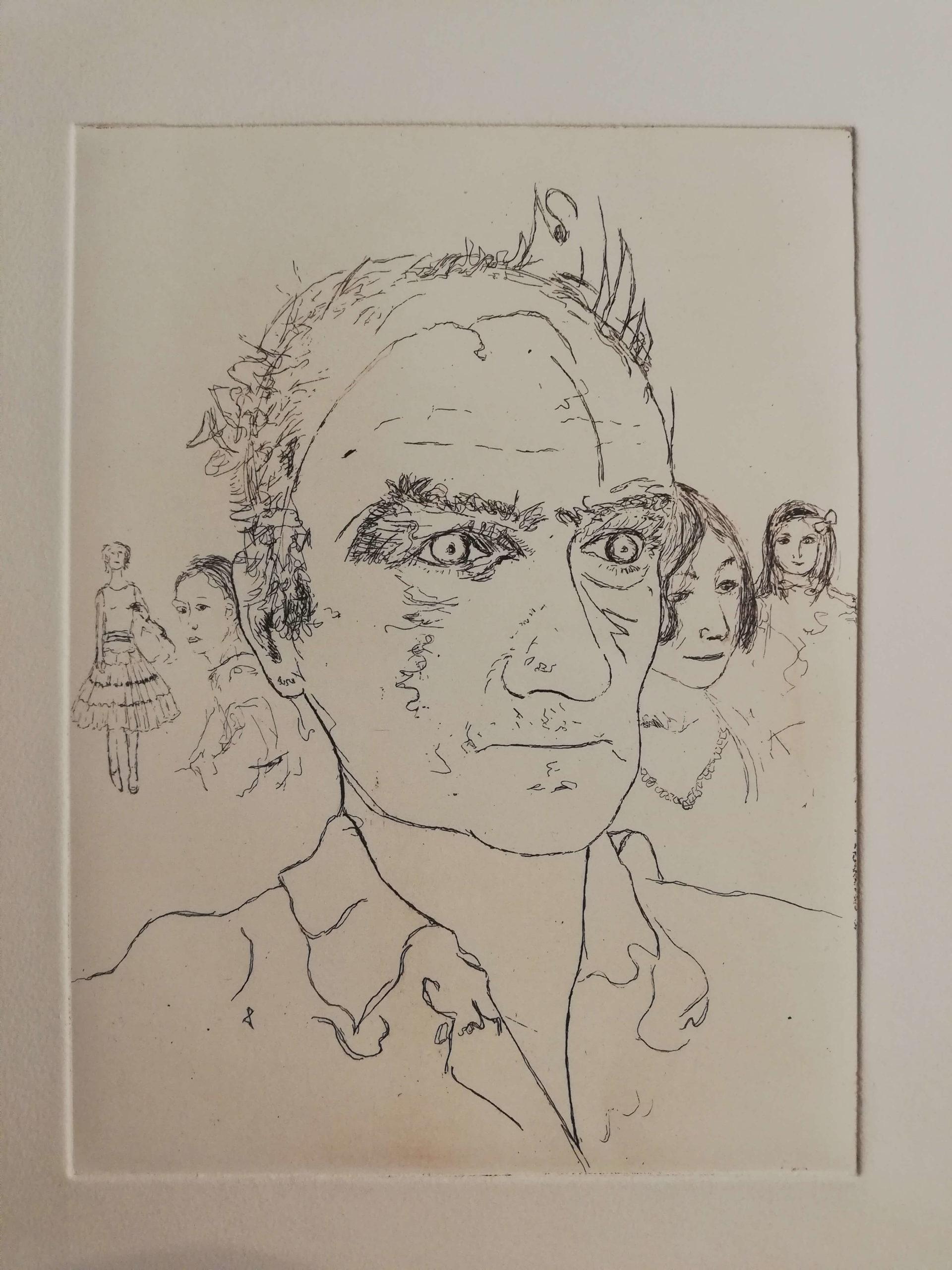 Autoportrait aux filles engrave by Michel Puharré