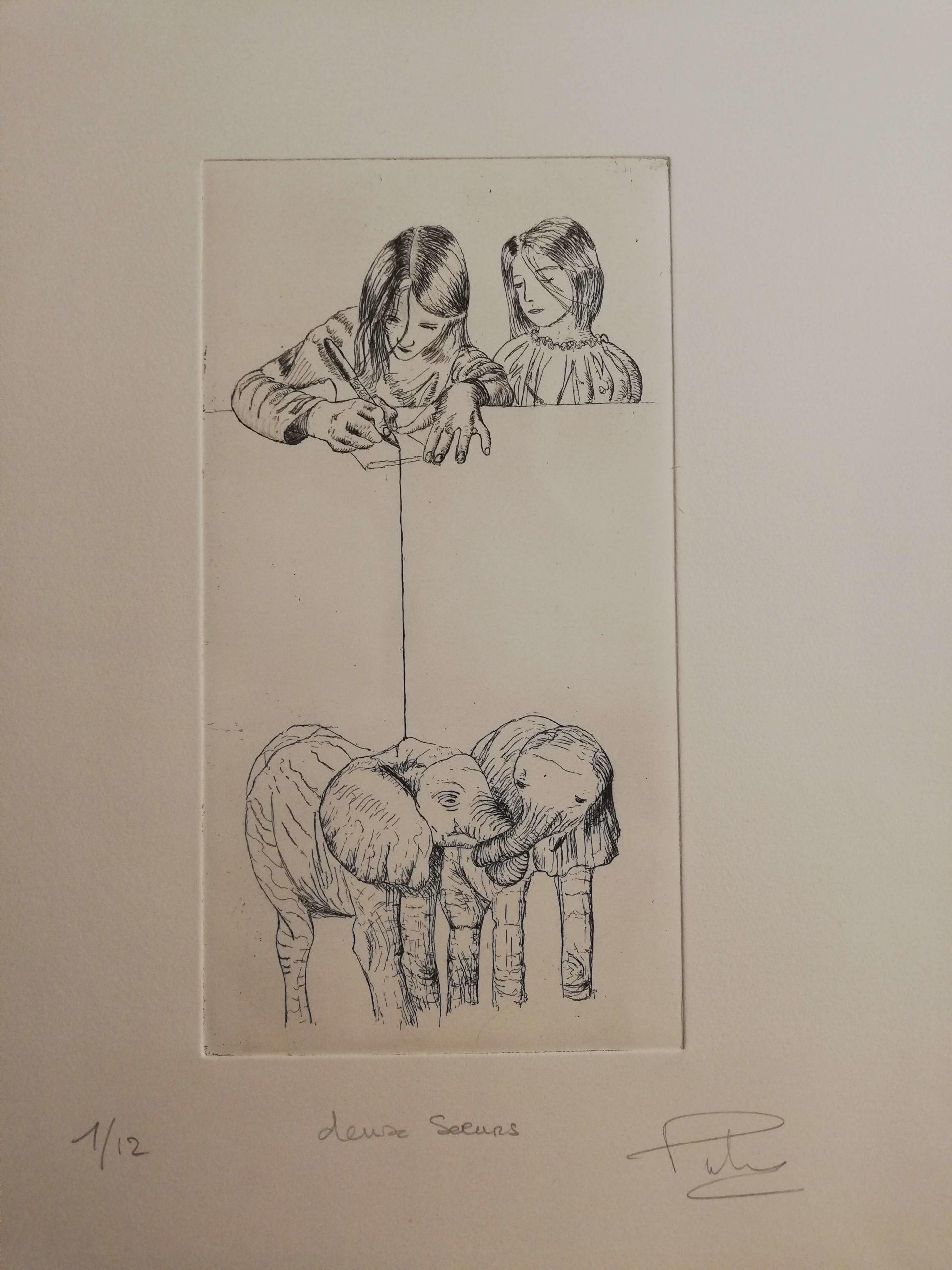 Deux soeurs engrave by Michel Puharré 2014