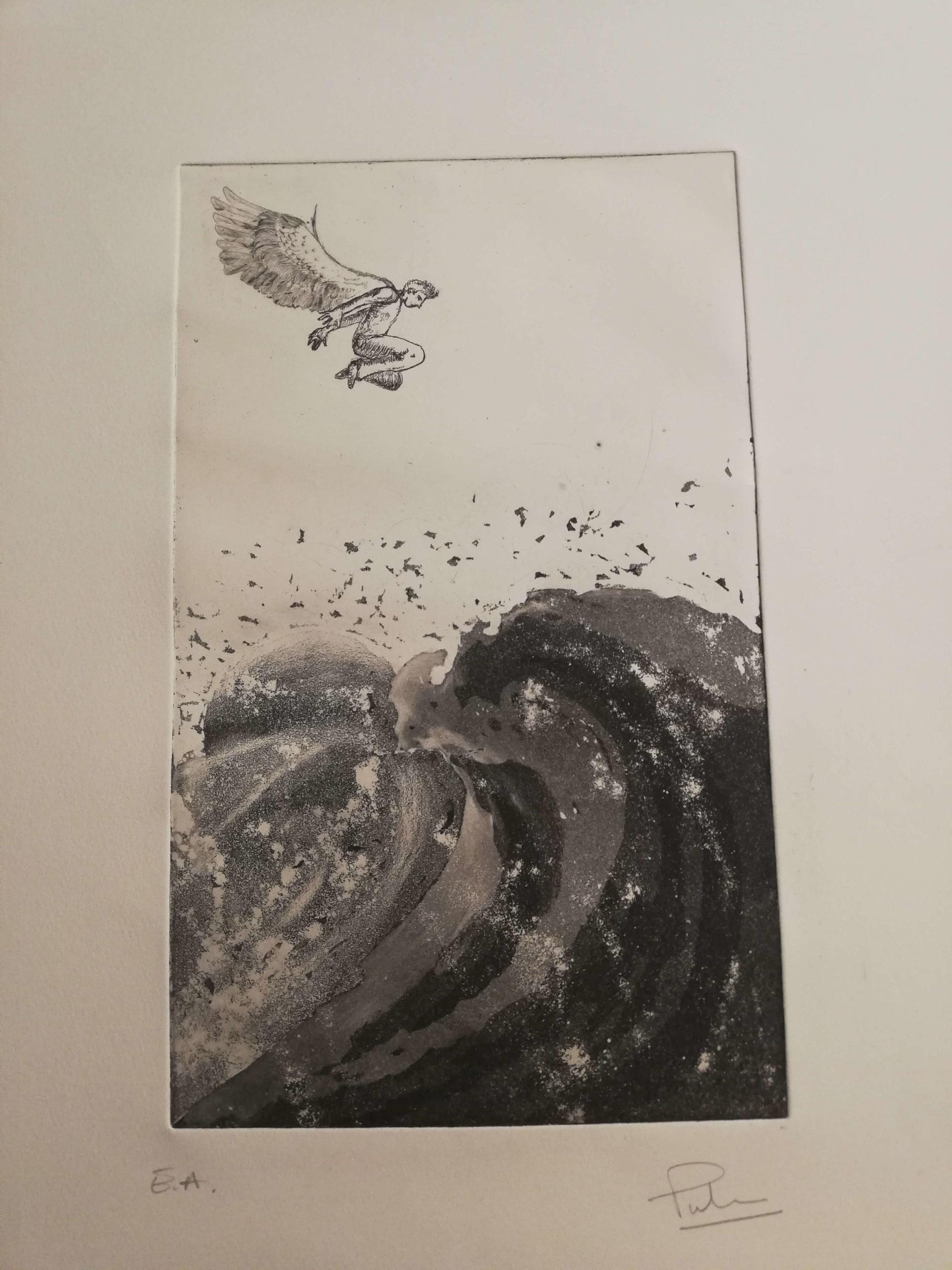 La vague engrave by Michel Puharré