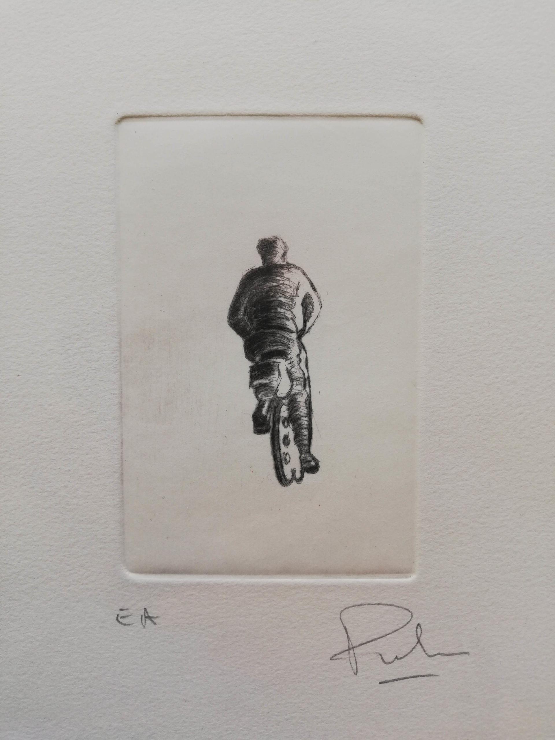 Le cycliste noir engrave by Michel Puharré 2010
