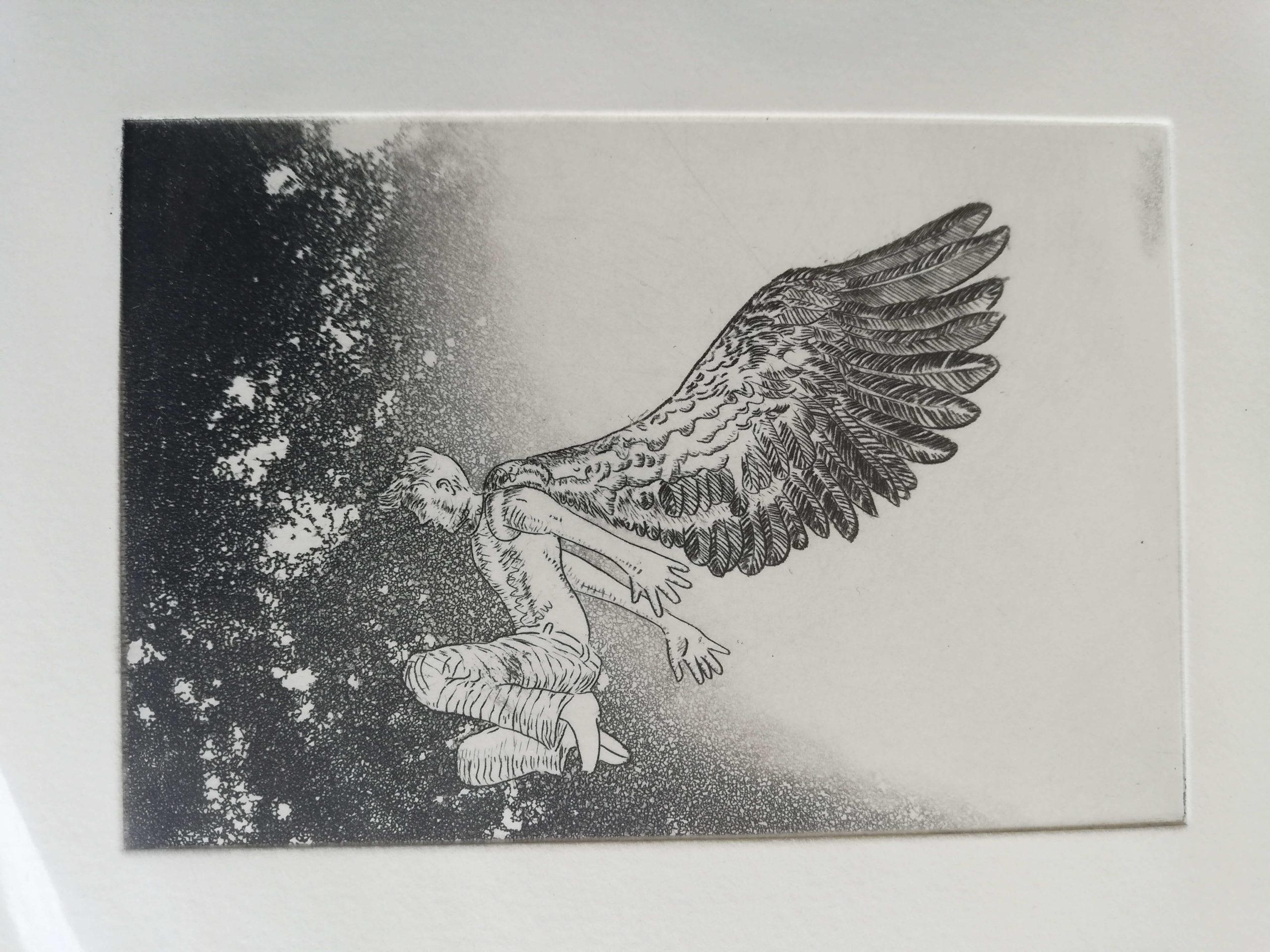 Le saut de l'ange engrave by Michel Puharré