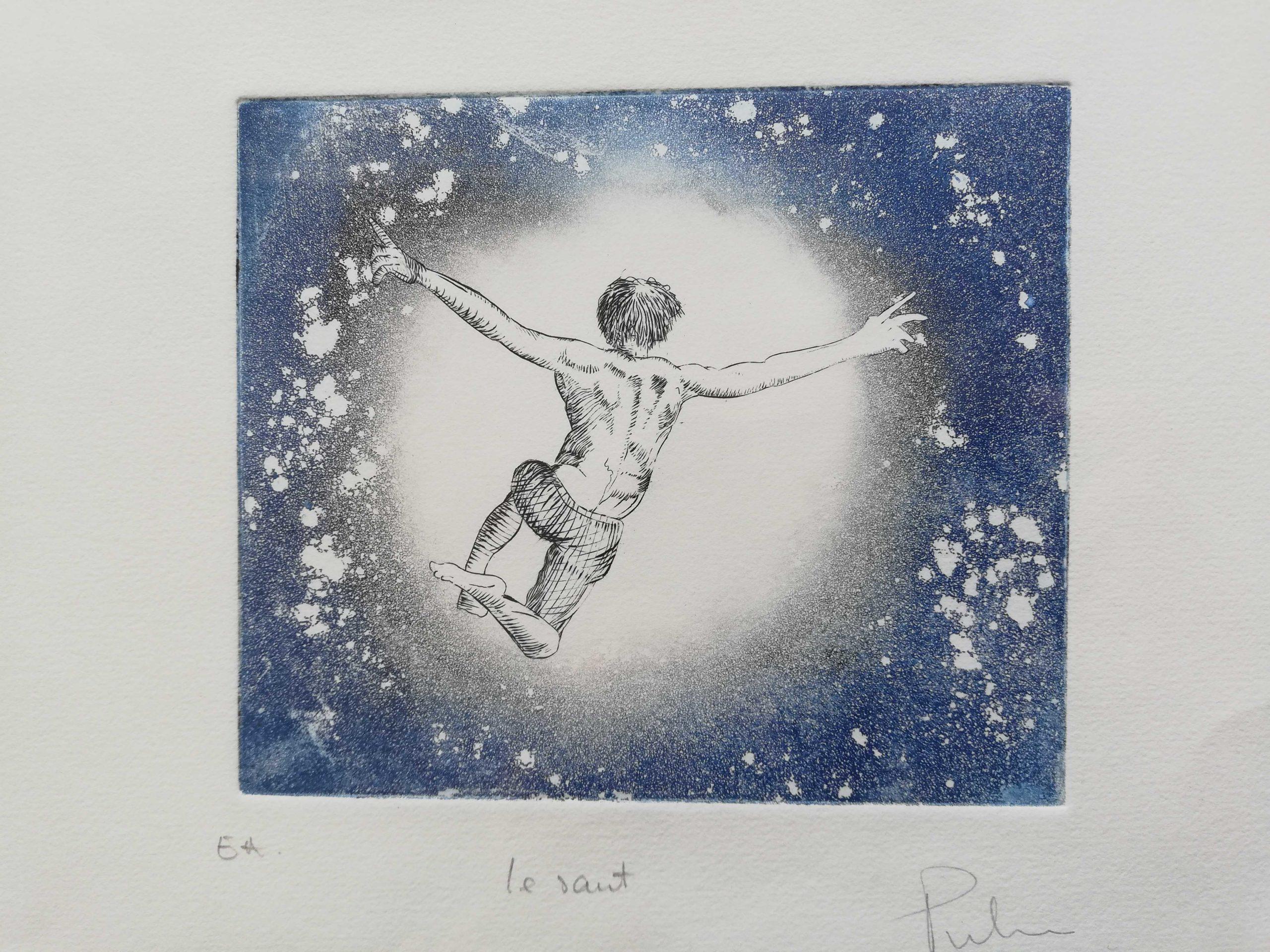 Le saut engrave by Michel Puharré