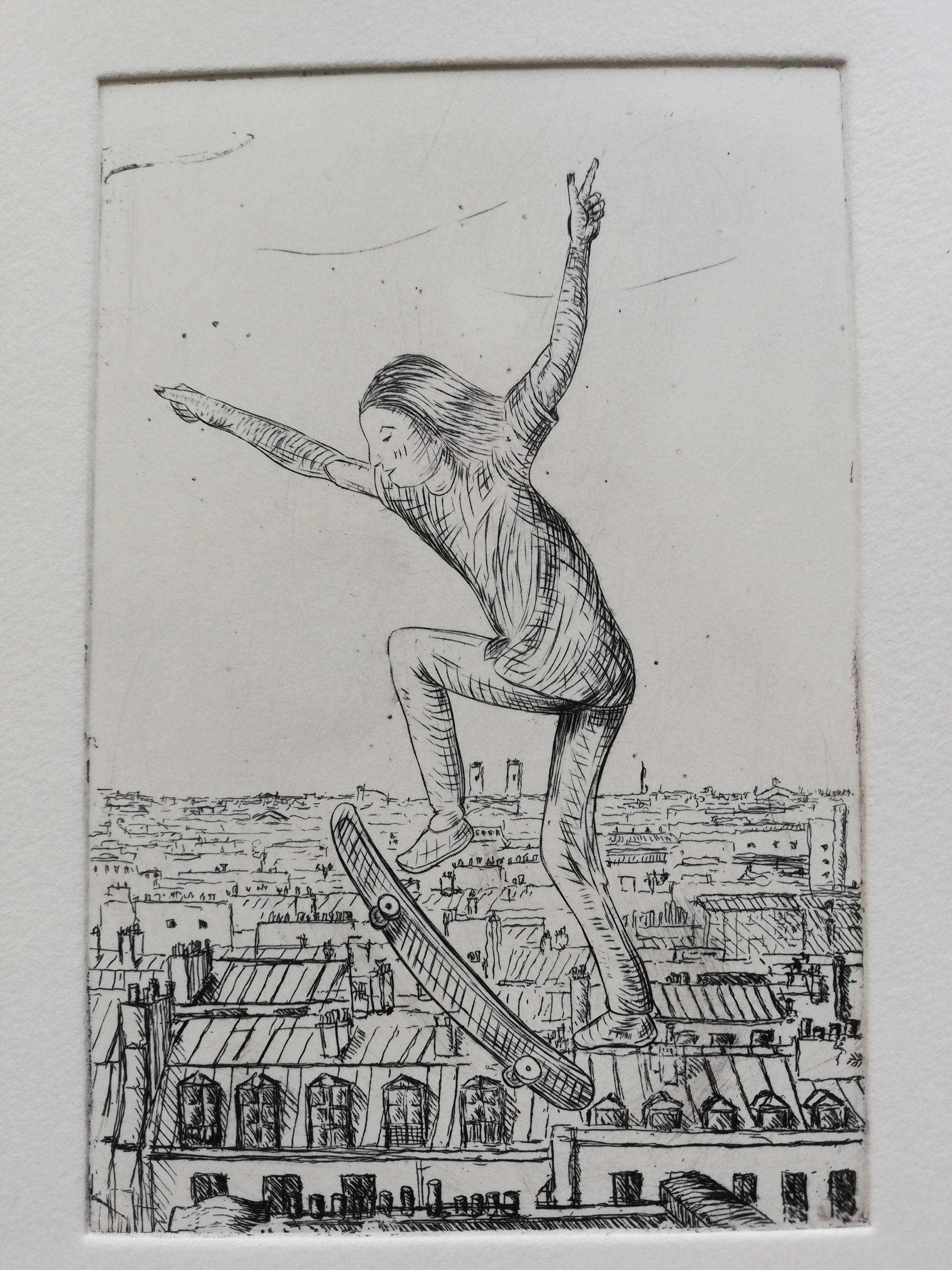 Ollie sur Paris engraved by Michel Puharré 2020